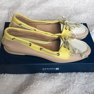 Yellow and white Sperry's, size 8.5, like new!